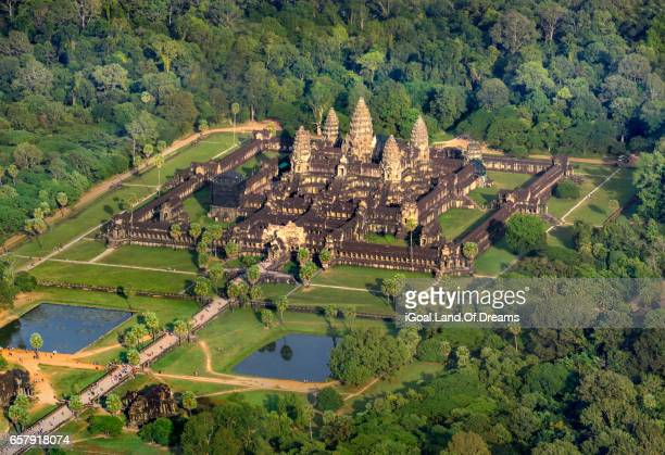 Helicopter view Angkor Wat Temple Siem Reap cambodia