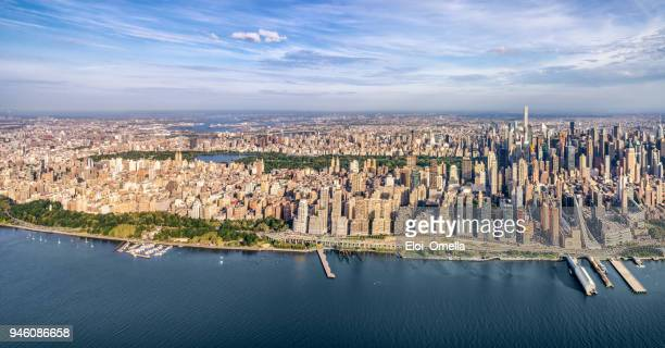 Helicopter view of central park and midtown Manhattan