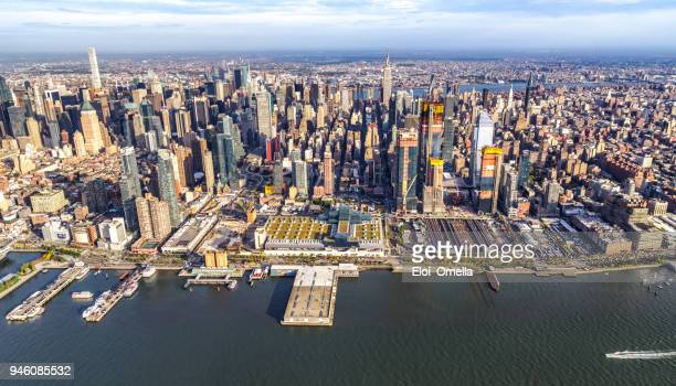 helicopter view of midtown manhattan - midtown manhattan stock pictures, royalty-free photos & images