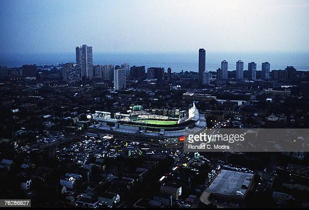 Helicopter view of the first night game in Wrigley Field between the Philadelphia Phillies and the Chicago Cubs on August 8 1988 in Chicago Illinois