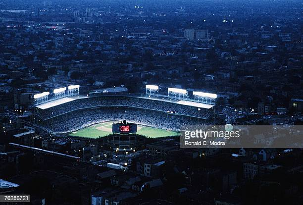 Helicopter view of the first night game in Wrigley Field between the Philadelphia Phillies and the Chicago Cubs on August 8, 1988 in Chicago,...