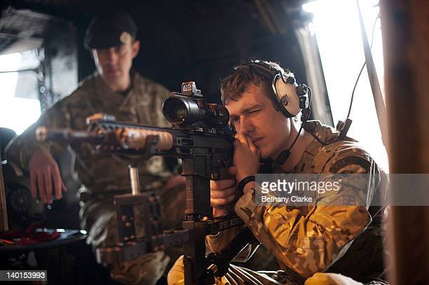 Helicopter with RAF Regiment Snipers at RAF Waddington on February 29 2012 in Lincoln England Pilots from the Royal Air Force and Royal Navy are...