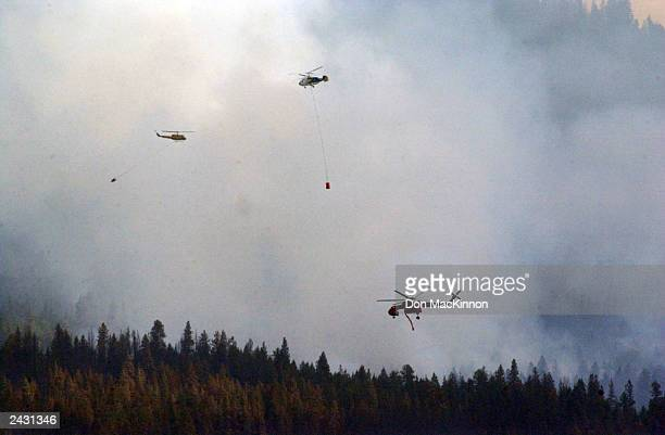 Helicopters battle a wildfire burning in the Okanagan Mountain Park August 26, 2003 near Kelowna, British Columbia, Canada. The fire tore through the...