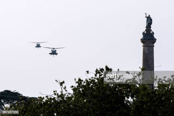 Helicopters carrying US President Donald Trump and First Lady Melania Trump lands ahead of a dinner with British Prime Minister Theresa May and...