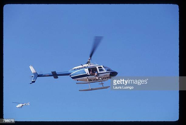 Helicopters fly above Elizabeth Taylor's wedding held at Michael Jackson's Neverland Valley Ranch October 6, 1991 in Los Olivos, CA. Actress Taylor...