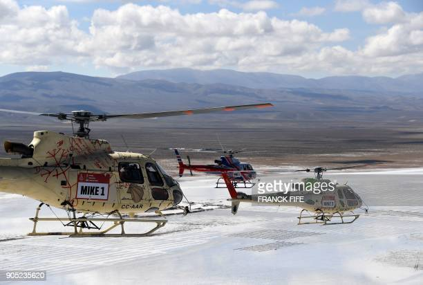 Helicopters fly between Bolivia and Argentina during the 2018 Dakar Rally on January 15 2018 The Stage 9 of the Dakar 2018 between Tupiza and Salta...