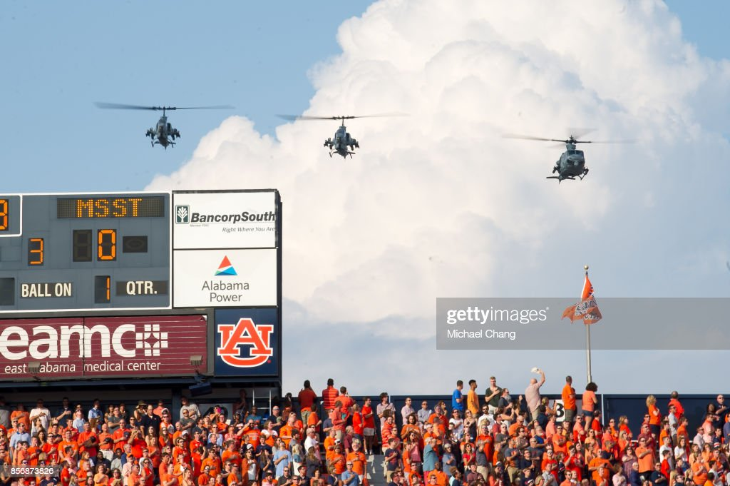 finest selection eda35 19d4c Helicopters fly over Jordan-Hare Stadium prior to the matchup ...