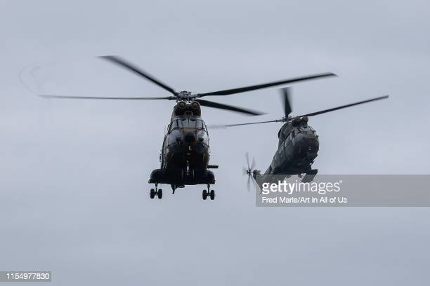 helicopters of the Land Force flying during an exercice in order to go to Tchad and Mali for Barkhane Operation against terrorism and jihadists in...