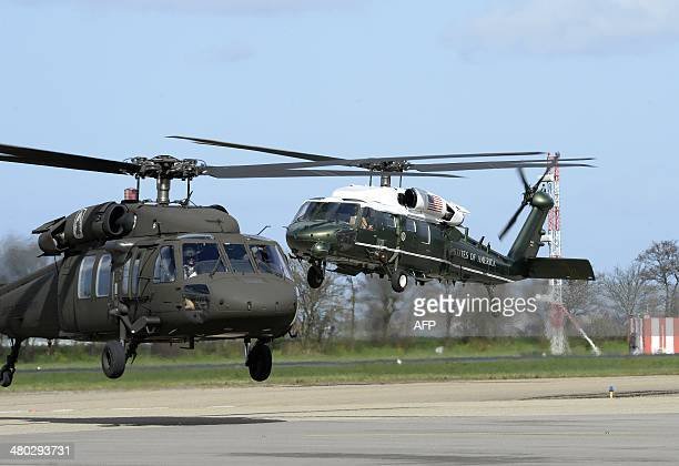 Helicopters of the United States come back to the Rotterdam / The Hague airport after bringing US president to the Rijksmuseum in Amsterdam on March...