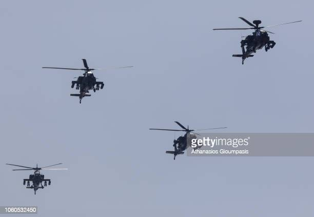 Helicopters overfly during the military parade on October 28 2018 in Thessaloniki GreeceThe national 'Oxi Day' commemorates the rejection by Greek...