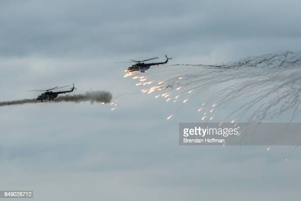 Helicopters take part in the Zapad 2017 military exercises at the Asipovichy military training ground on September 18, 2017 in in Asipovichy,...