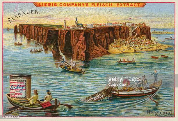 Heligoland / Helgoland Islands Germany by the seaside Seebader series Liebig card 1895