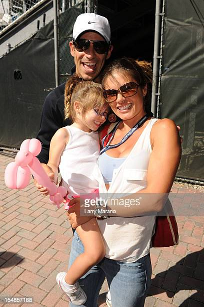 Helio Castroneves Adriana Henao and their daughter Mikaella attend the 23rd Annual Chris Evert/Raymond James ProCelebrity Tennis Classic at Delray...