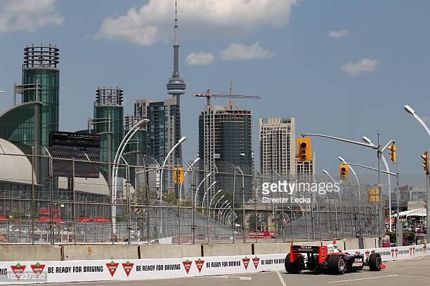 Helio Castroneves driver of the Team Penske Dallara Honda during practice for the IZOD IndyCar Series Honda Indy Toronto on July 16 2010 in the...