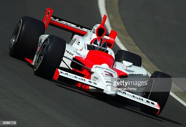 Helio Castroneves drives his Marlboro Team Penske Toyota Dallara during qualifying for the IRL IndyCar Series Bridgestone Indy Japan 300 Mile on...