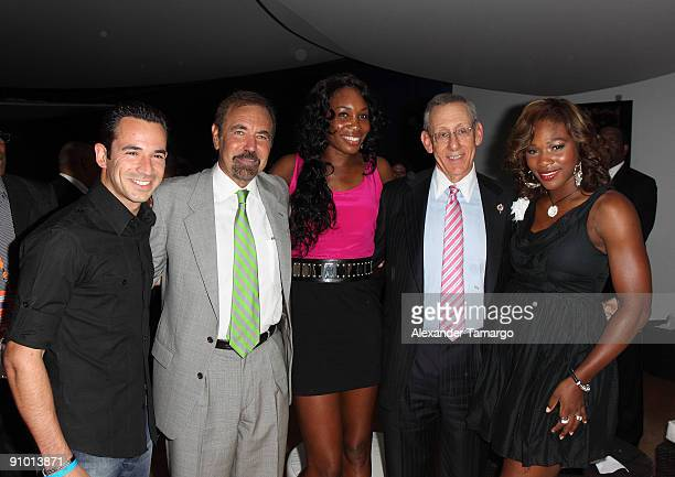Helio Castroneves Jorge Perez Venus Williams Stephen Ross and Serena Williams pose at the Ocean Drive Club prior to the Miami Dolphins game at...
