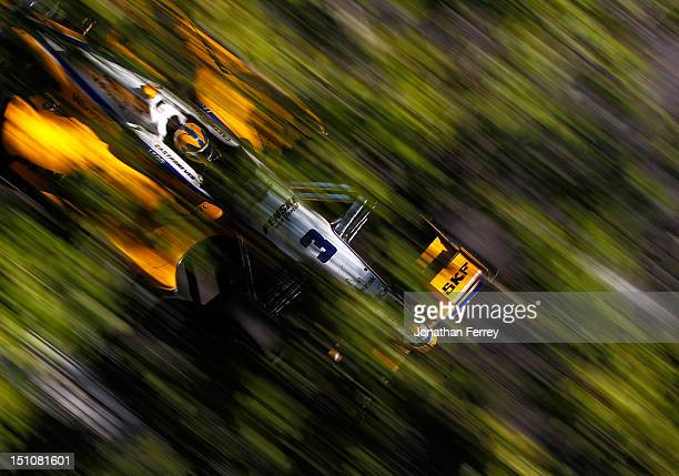 Helio Castroneves of Brazil driver of the Team Penske Chevrolet Dallara during practice for IZOD IndyCar Series Grand Prix of Baltimore on August 31...