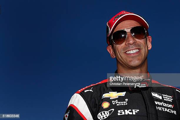 Helio Castroneves of Brazil driver of the Team Penske Chevrolet IndyCar during qualifying for the Phoenix Grand Prix at Phoenix International Raceway...