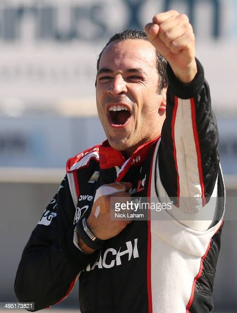 Helio Castroneves of Brazil driver of the Team Penske Dallara Chevrolet winning the Verizon IndyCar Chevrolet Indy Dual II at The Raceway on Belle...