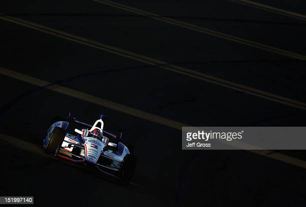 Helio Castroneves of Brazil drives the Auto Club Team Penske Chevrolet Dallara during practice for the IZOD IndyCarSeries MATV 500 World Championship...