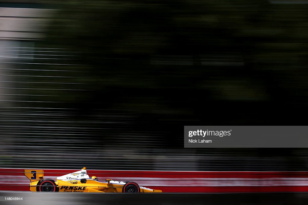 Helio Castroneves of Brazil, drives the #3 Penske Truck Rental Chevrolet during the IZOD INDYCAR Series Honda Indy Toronto on July 8, 2012 in Toronto, Canada.