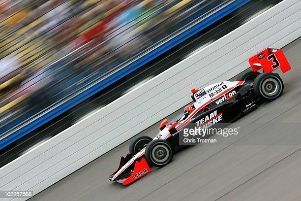 Helio Castroneves of Brazil drives the Team Penske Dallara Honda during the IRL Indycar Series Iowa Corn Indy 250 on June 20 2010 in Newton Iowa
