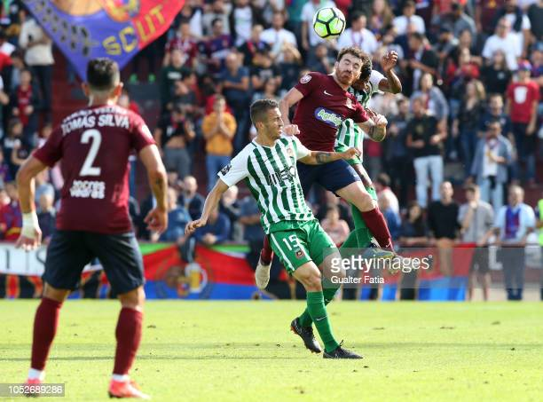 Helio Vaz of SCU Torreense with Joao Schmidt of Rio Ave FC and Matheus Reis of Rio Ave FC in action during the Portuguese Cup match between SCU...