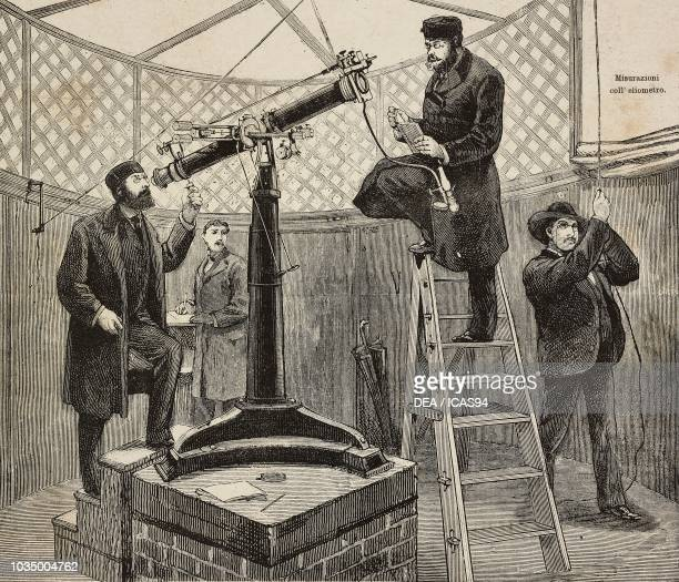 Heliometer measurements observations of the passage of Venus in Trinity College Hartford United States of America engraving from L'Illustrazione...