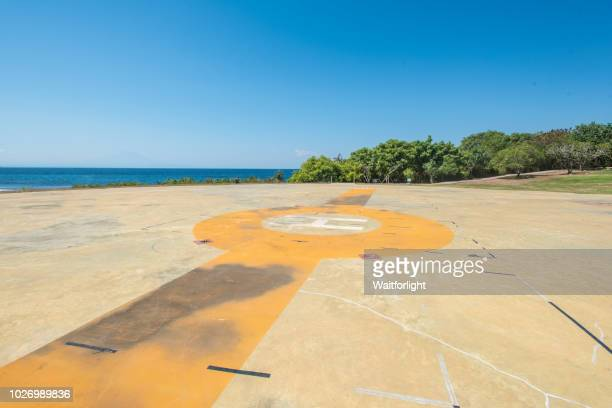 helipad at seaside - helipad stock photos and pictures