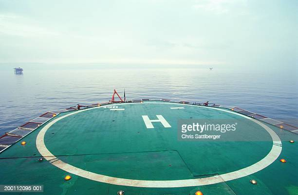 Helipad on offshore oil rig, elevated view