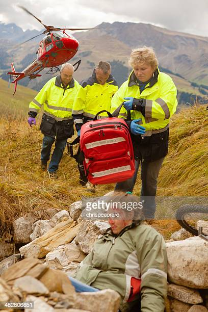 heli-rescue team - medevac stock photos and pictures