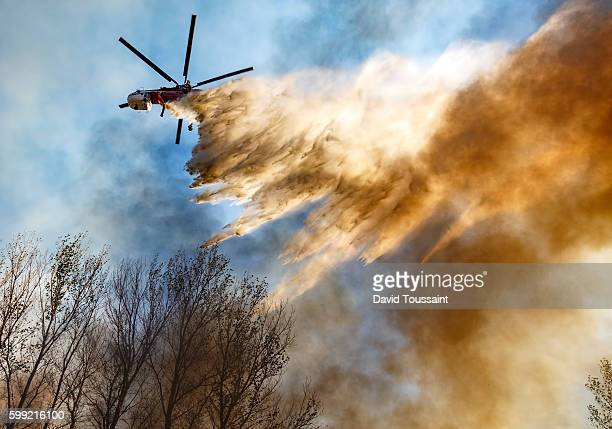 helitanker dropping water on a wildfire - california wildfire stock pictures, royalty-free photos & images