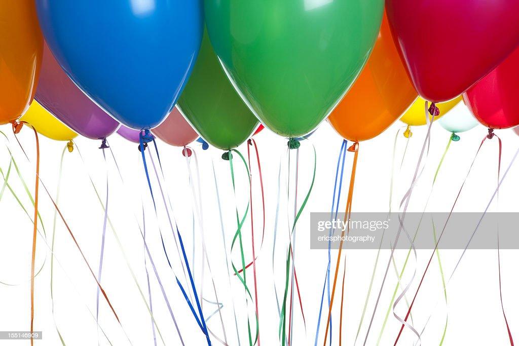 Helium balloons on white : Stock Photo
