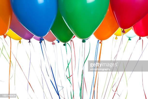 Helium balloons on white