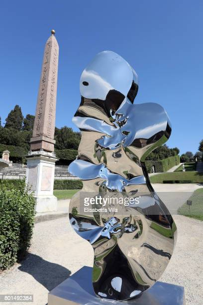 'Helium' sculpture is shown as contemporary artist Helidon Xhixha opens his new exhibition of sculpture at Boboli Garden on June 26 2017 in Florence...