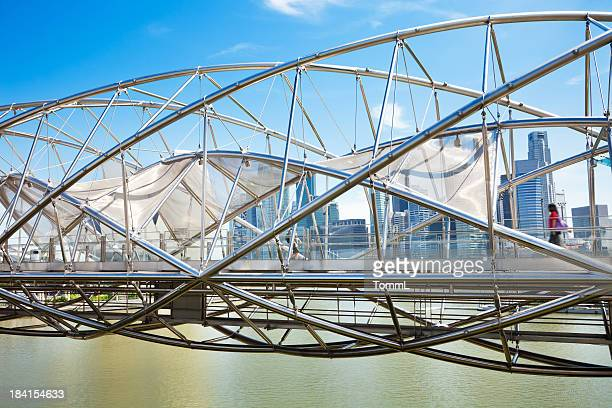 Helix Bridge and Marina Bay, Singapore