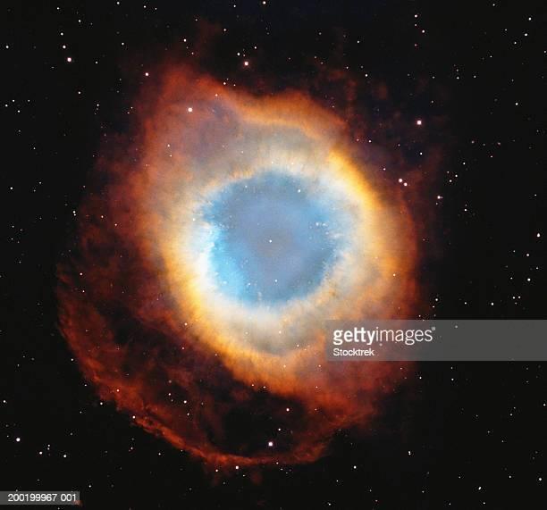 helix nebula, satellite view (digital composite) - nevels en gaswolken stockfoto's en -beelden