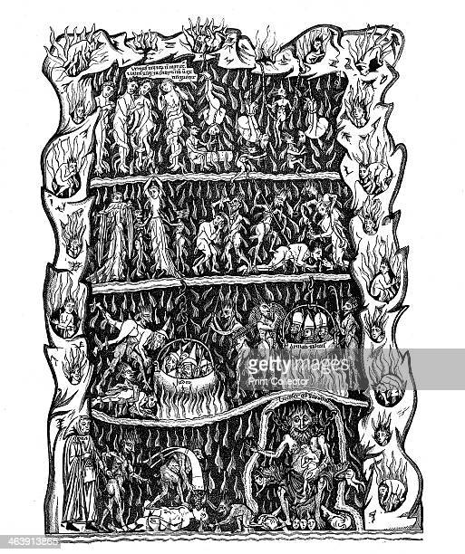 Hell 12th century Engraving after a miniature in a 12th century manuscript Hortus deliciarum produced in a monastery at Hohembourg and destroyed in...