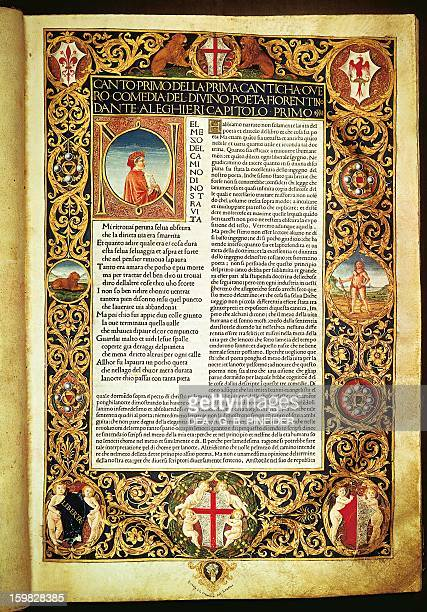 Hell from The Divine Comedy by Dante Alighieri first illuminated page edition annotated by Cristoforo Landino 1481 Florence Biblioteca Nazionale...
