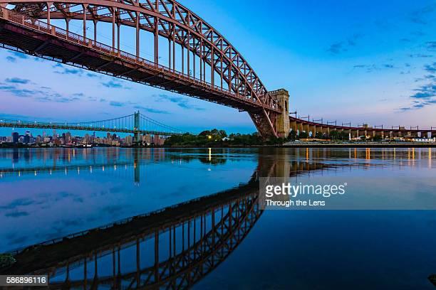 hell gate bridge during dawn - east harlem - fotografias e filmes do acervo