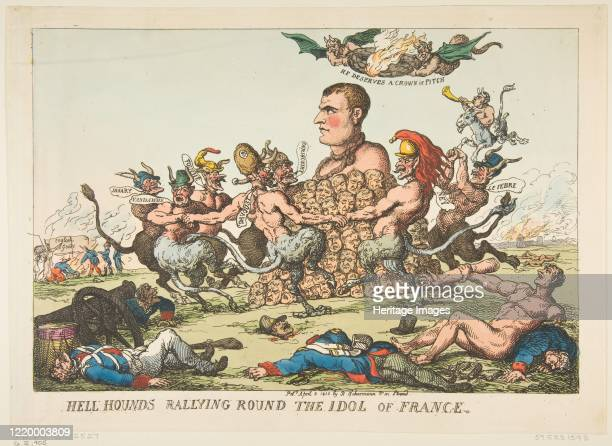 Hell Hounds Rallying Round the Idol of France April 8 1815 Artist Thomas Rowlandson