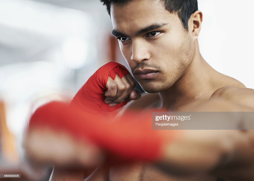 He'll knock anyone out! : Stock Photo