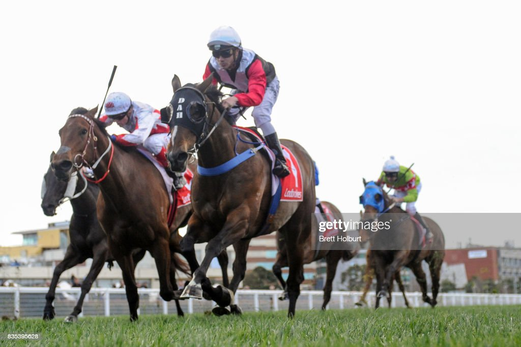 Hell or Highwater ridden by Chris Caserta wins Pegasus Leisure Group Plate at Caulfield Racecourse on August 19, 2017 in Caulfield, Australia.