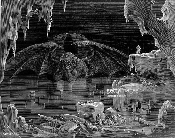 Hell portrayals/graphics Satan/Lucifer in the 9th circle of hell Illustr to Divina Comedia of Dante Alighieri engraving 19th cent