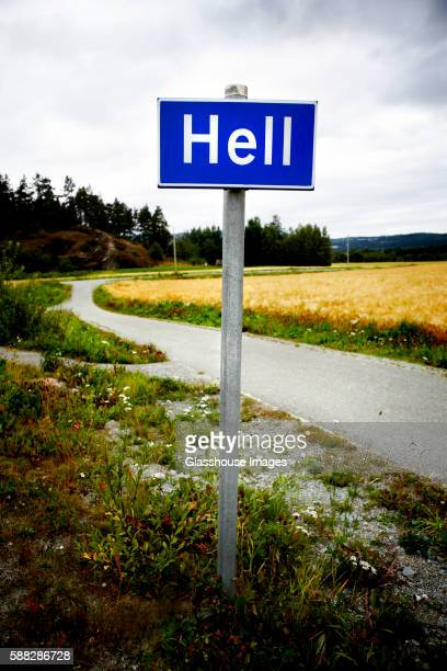 hell road sign - hell stock pictures, royalty-free photos & images