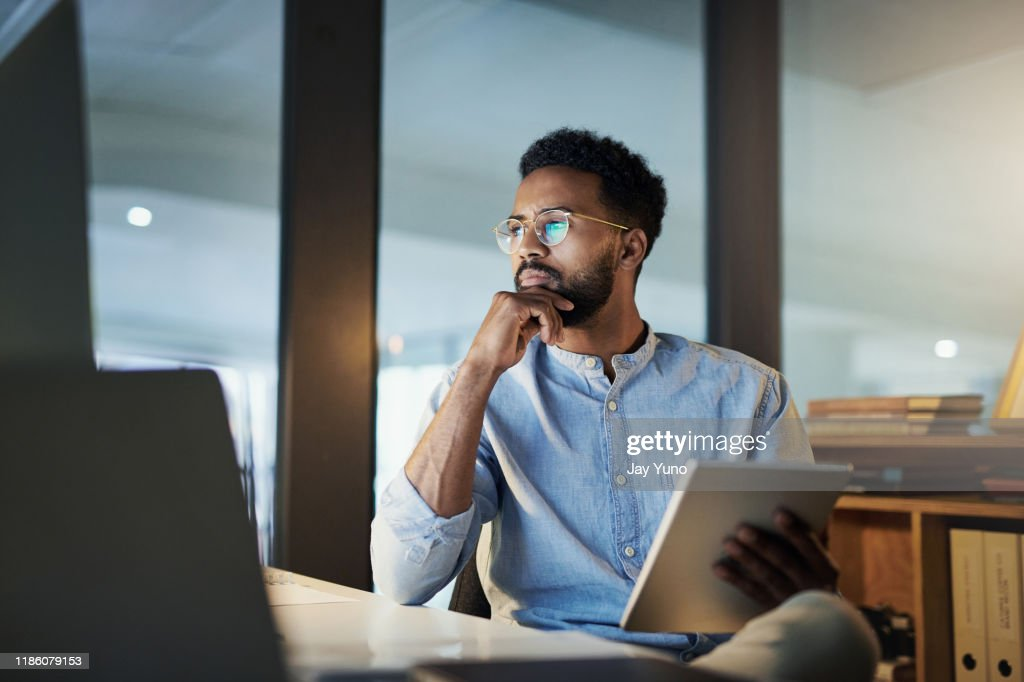 He'll stay until he has it all figured out : Stock Photo
