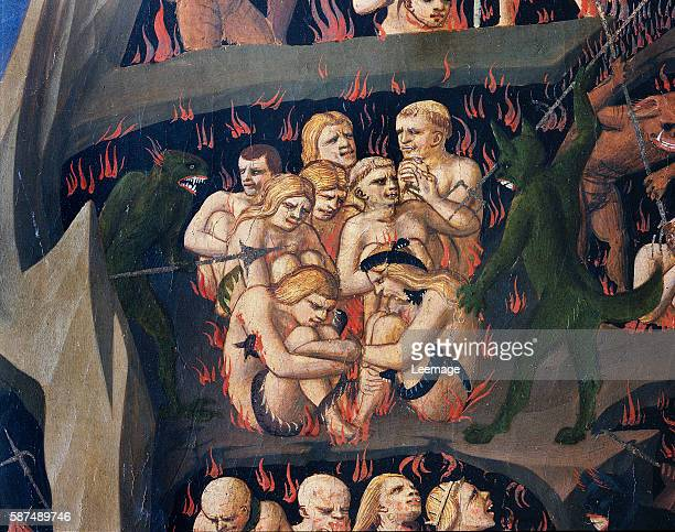 Hell with demons punishing the slothful detail from The Last Judgement by Giovanni da Fiesole known as Fra Angelico Florence Museo Di San Marco