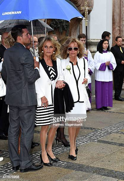 Hella Brice and her sister and Gaby Dueck attend the memorial service for the deceased actor Pierre Brice at Saint Michael church on June 18 2015 in...