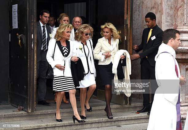 Hella Brice and her sisters Hummy Wisgickl and Gaby Dueck attend the memorial service for the deceased actor Pierre Brice at Saint Michael church on...