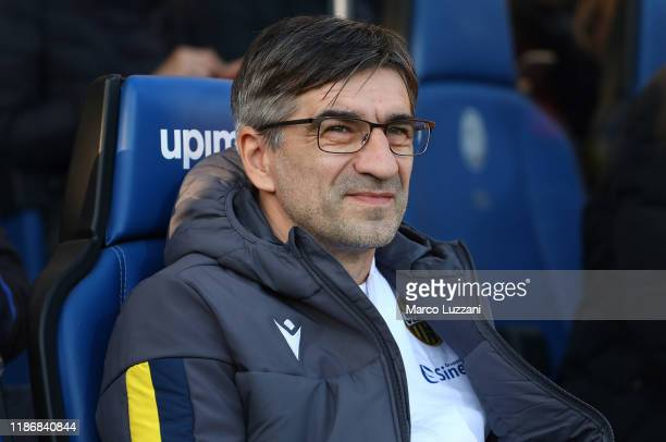 Hellas Verona coach Ivan Juric looks on before the Serie A match between Atalanta BC and Hellas Verona at Gewiss Stadium on December 7 2019 in...